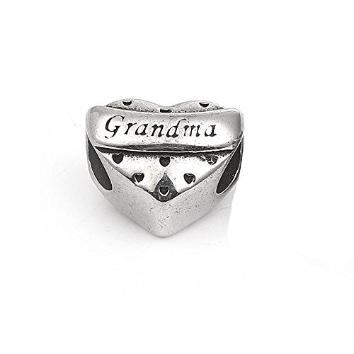 SEXY SPARKLES Mother's Day Gift Stainless Steel Grandma heart Spacer Bead Charms for Bracelets