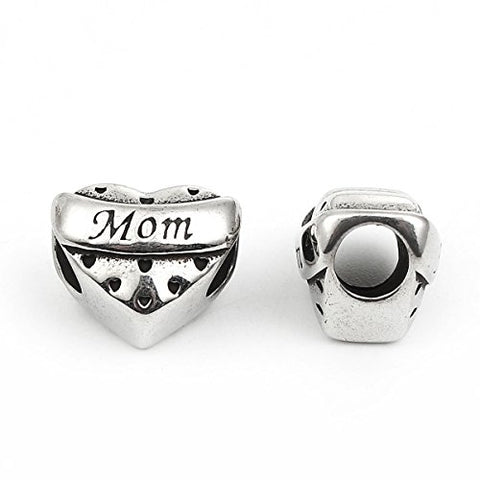 SEXY SPARKLES Mother's Day Gift Stainless Steel Mom Spacer Bead Charms for Bracelets