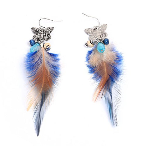 SEXY SPARKLES Dangling Genuine Natural long Hand Made Feathers Earrings for Women and Teen