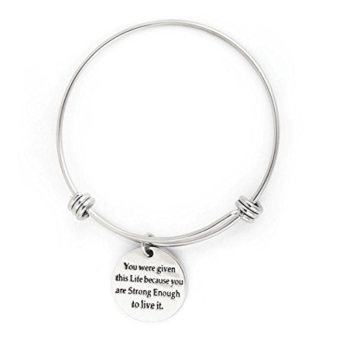 SEXY SPARKLES Silver Plated Stainless Steel Metal Inspirational Bracelet Engraved Motivational Round Charm Pendant Expandable Adjustable Bracelets Bangle Gift for Women Men