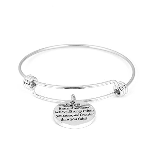 SEXY SPARKLES Stainless Steel Inspirational Bracelet Engraved Motivational Round Charm Pendant Expandable Adjustable Bracelets Bangle for Women Men