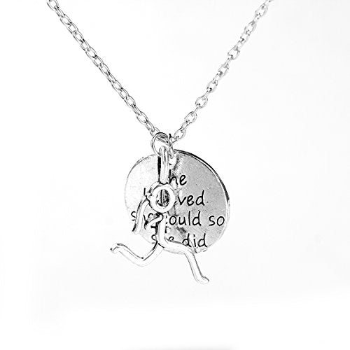 SEXY SPARKLES Stick Figure Running Girl Necklace she belived she could so she did run, runner jewelry