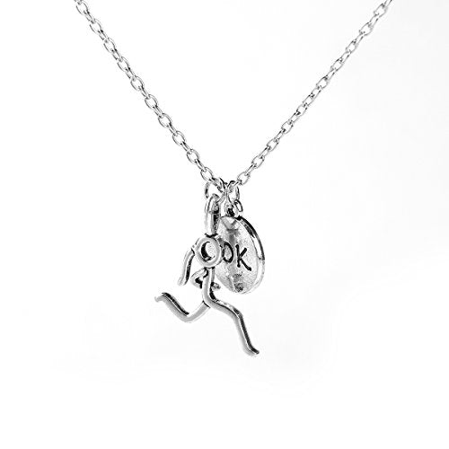 SEXY SPARKLES Stick Figure Running Girl Necklace 10k Sports run runner jewelry