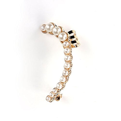 SEXY SPARKLES Ear Cuff for women Clip On Stud Wrap Earrings For Left Ear Gold Plated White Imitation Pearl(1 Pcs)