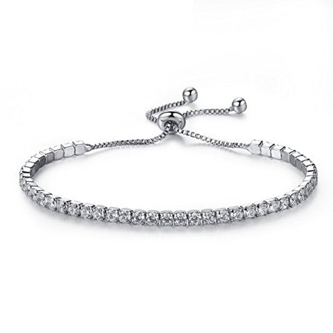SEXY SPARKLES Cubic Zirconia adjustable bracelets for women slider/Slide Bolo Tennis Bracelet for Women Girls
