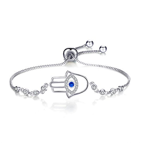 SEXY SPARKLES Cubic Zirconia adjustable Hamsa Hand Bracelet Evil Eye for women slider/Slide Bolo