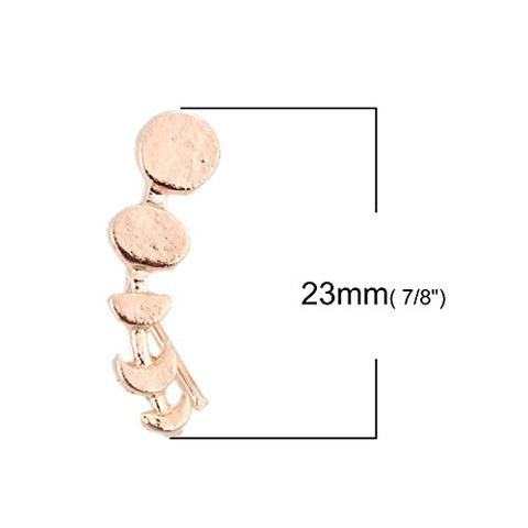 SEXY SPARKLES Rose Gold Tone Moon Phase Crawler Earring Ear Cuff Stud Earrings