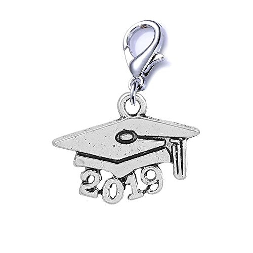 SEXY SPARKLES Class of 2019 Graduation cap clip on lobster clasp charm for bracelets or necklace