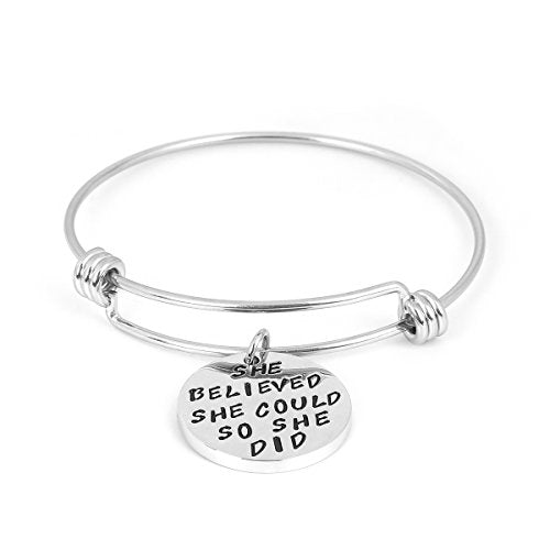 "SEXY SPARKLES Stainless-Steel Inspirational Bracelet Engraved ""believed she could she did"" Motivational Round Charm Pendant Expandable Adjustable"