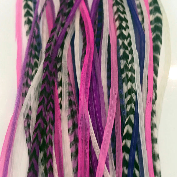 Feather Hair Extensions, 100% Real Rooster Feathers, Long Pink, Purple, Grizzly Colors, 20 Feathers with 20 Silicone Microlinks and loop tool