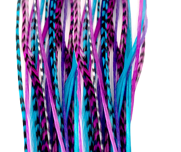Feather Hair Extensions, Feather Hair Extensions, 100% Real Rooster Feathers, Long Pink, Purple, Blue Colors, 20 Feathers with 20 Silicone Microlinks and loop tool