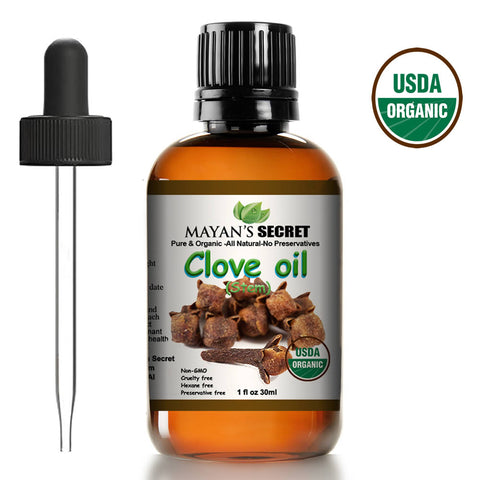 Mayan's Secret USDA Certified Organic Pure Clove Stem Essential Oil - Pure and Natural, Therapeutic Grade Large 1oz Bottle - Perfect for Aromatherapy, Relaxation, Skin Therapy & More