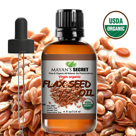 USDA Certified Virgin Organic Flax Seed Oil, Unrefined Virgin, Cold Pressed, Linum Usitatissimum, 4 OZ