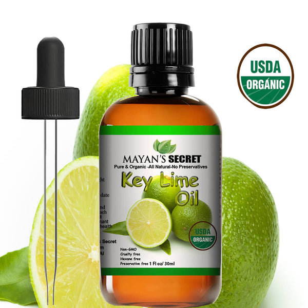 Mayan's Secret USDA Certified Organic Key Lime Essential Oil for Diffuser & Reed Diffusers (100% PURE & NATURAL - UNDILUTED) Therapeutic Grade - Huge 1oz Bottle