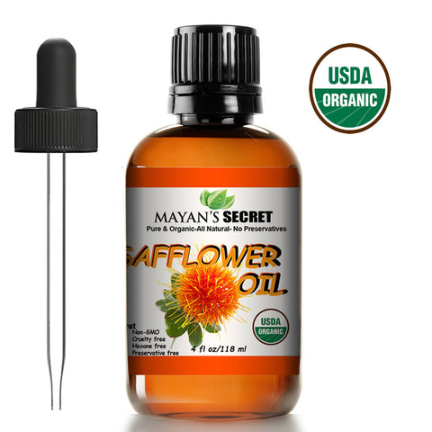 USDA Certified Organic Safflower Seed Oil High in Vitamin E and omega-6 fatty acids for anti-aging skin
