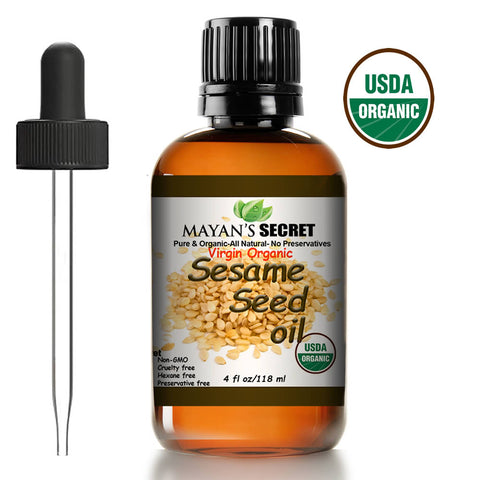 USDA Certified Virgin Organic Sesame Seed Oil Unrefined 100% Pure Natural For Skin, Body, Face, and Hair Growth Moisturizer. Great For Creams, Lotions, Lip balm and Soap Making Large 4oz..