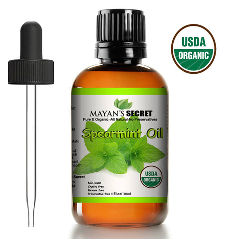 Mayan's Secret USDA Certified Organic Spearmint Essential Oil for Diffuser, Acne and Aromatherapy (30ml) - 100% Pure Therapeutic Grade