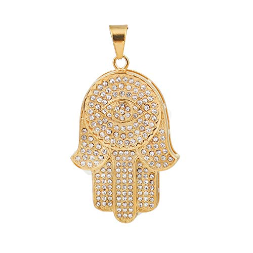 SEXY SPARKLES Stainless Steel Hamsa Hand Pendant for Necklace