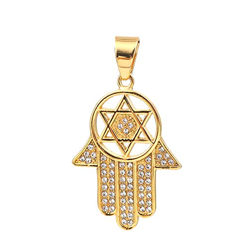 SEXY SPARKLES Stainless Steel Hamsa Hand and Star of David Pendant for Necklace