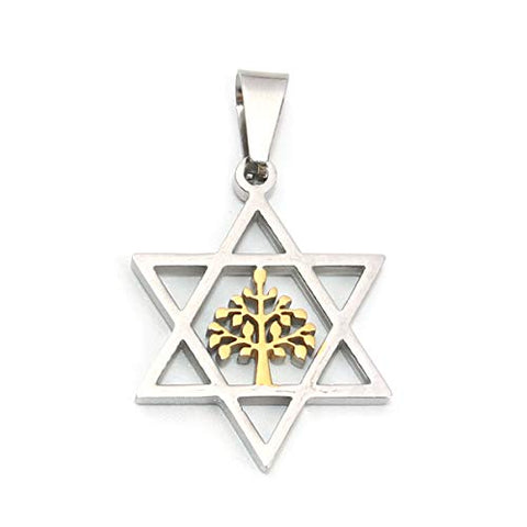 SEXY SPARKLES 316 Stainless Steel Pendants Star of David Hexagram Gold Plated & Silver Tone Tree of Life
