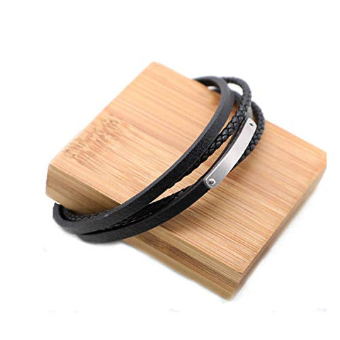 Genuine Leather Bracelet with Blank Stamping Tag 304 Stainless Steel Bangle Wrap Multilayer Rope Wristband