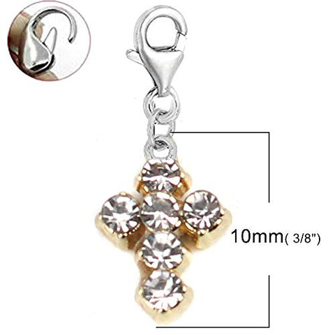 Sexy Sparkles Cross Clip On Charms for Bracelets with Lobster Clasp Dangle Charm