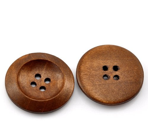 "Sexy Sparkles 50 PCs Brown Wood Sewing Buttons Scrapbooking 4 Holes Round 3cm(1 1/8"") Dia."