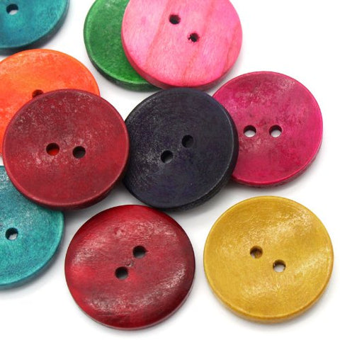 "50PCs Wood Sewing Buttons Scrapbooking 2 Holes Round Mixed 3cm(1 1/8"") Dia."