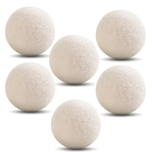 Wool Dryer Balls 6-Pack XL Reusable Natural Chemical Free Fabric Softener, Laundry Dryer Balls 100% Premium Wool