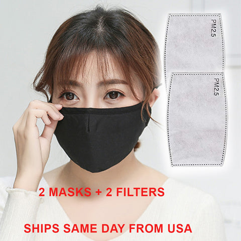 Black Cotton Mouth Mask Anti-Dust Reusable Washable 4 layers plus filters