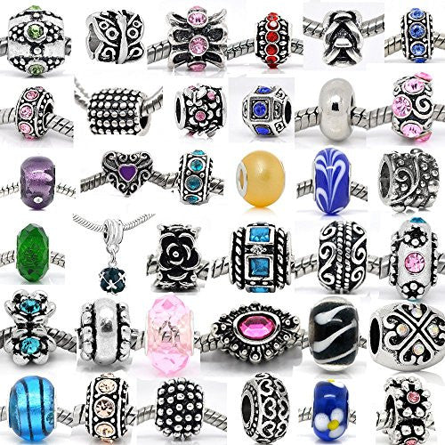 (20 Beads Mix) Pack of Assorted Silver Tone Charms, Crystal Bead Charms, Murano Glass Beads and Spacers - Sexy Sparkles Fashion Jewelry