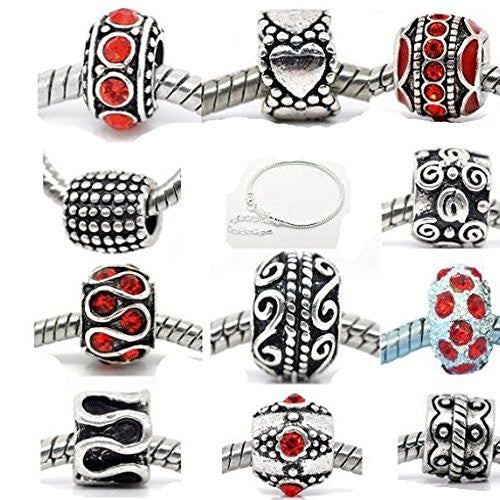 Ten (10) Red Rhinestone Plus Bracelet Charm Beads in Assorted s for Snake Chain Charm Bracelet