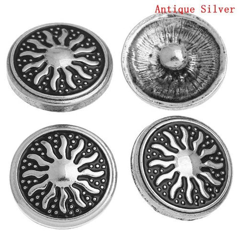 Chunk Snap Buttons Fit Chunk Bracelet Round Antique Silver Tone Sun Pattern Carved 20mm - Sexy Sparkles Fashion Jewelry - 4