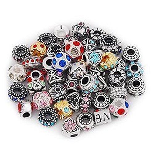 Ten (10) Pack Assorted Rhinestone Charm Beads in Assorted s for Snake Chain Charm Bracelet