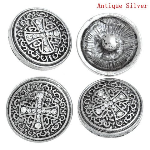 Chunk Snap Buttons Fit Chunk Bracelet Round Antique Silver Cross Pattern Carved Clear Rhinestone 20mm - Sexy Sparkles Fashion Jewelry - 4