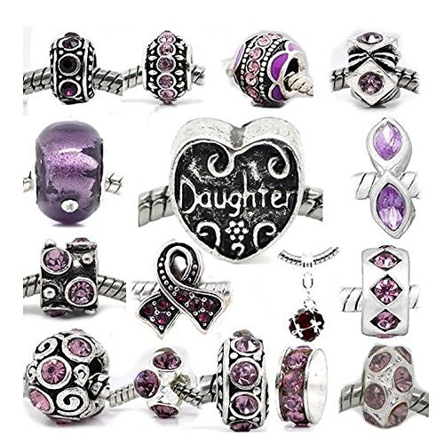 Daughter Heart Charm with Nine Assorted Febuary Birthstones