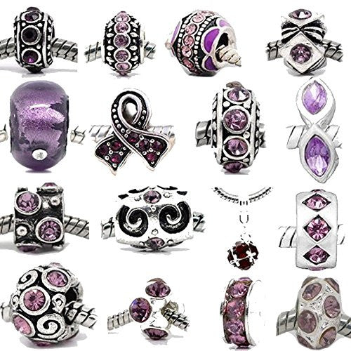 Ten (10) Purple Rhinestone Charm Beads in Assorted s for Snake Chain Charm Bracelet