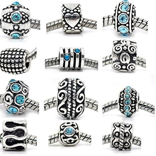 Ten (10) Aqua Rhinestone and Metal Charm Beads in Assorted s for Snake Chain Charm Bracelet