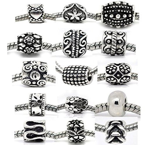 Ten (10)Metal Charm Beads in Assorted s for Snake Chain Charm Bracelet