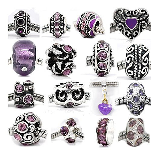 Ten Purple Charms Spacers for Snake Chain Charm Bracelet