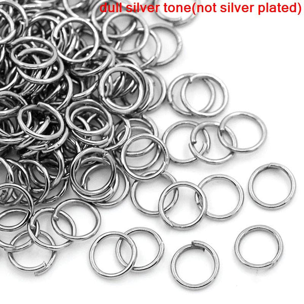 1000 Pcs Dull Silver Tone Open Jump Rings 6x0.7mm - Sexy Sparkles Fashion Jewelry - 1