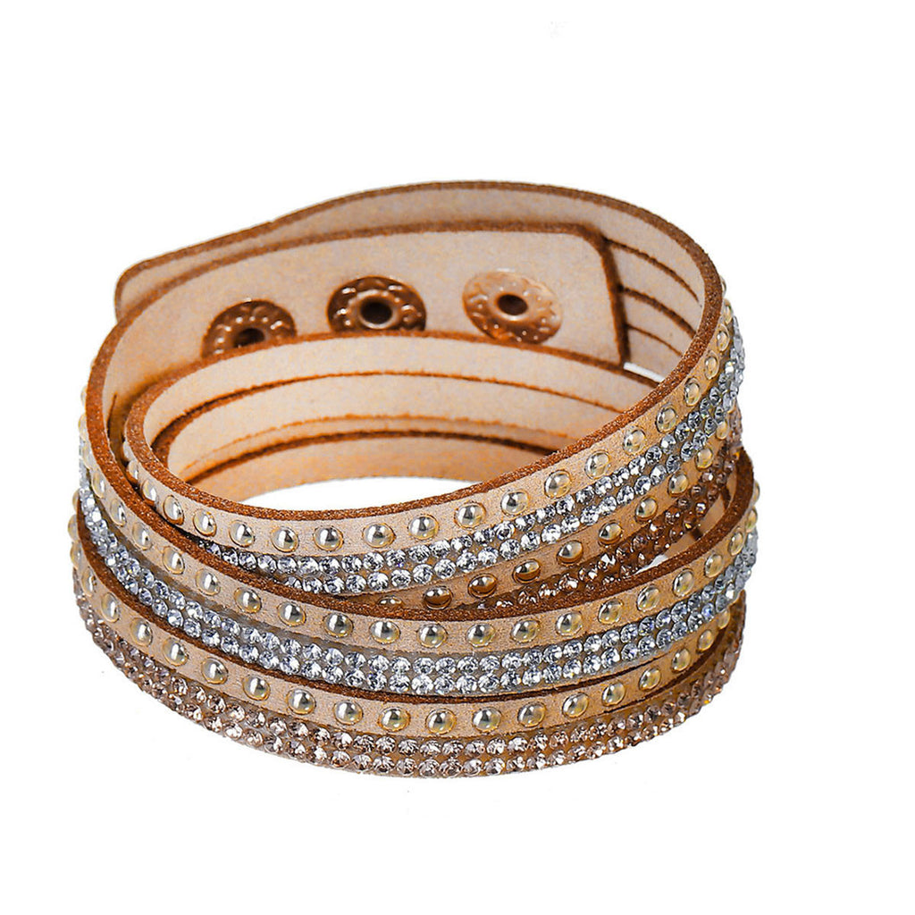 Sexy Sparkles Suede Velvet Multi Layer Wrap Women Teen Girls Bracelet