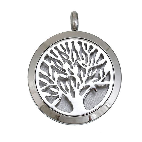 Sexy Sparkles Aromatherapy Essential Oil Diffuser Stainless Steel Tree of Life Locket Pendant