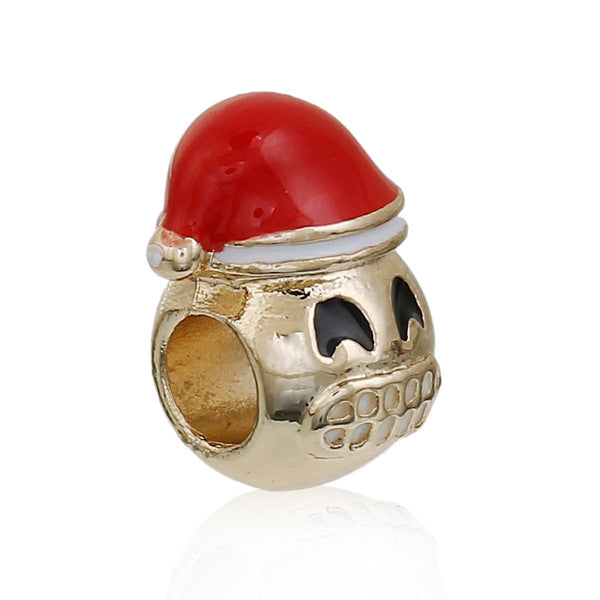 Sexy Sparkles Christmas Emoji Grinning Face Charm European Spacer Bead for Bracelet - Sexy Sparkles Fashion Jewelry - 1