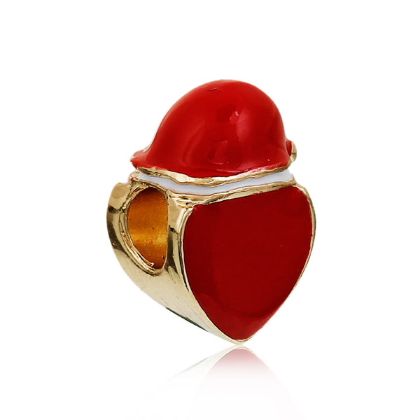 Sexy Sparkles Christmas Emoji Heart with Red Christmas Santa Hat Charm European Spacer Bead - Sexy Sparkles Fashion Jewelry - 1