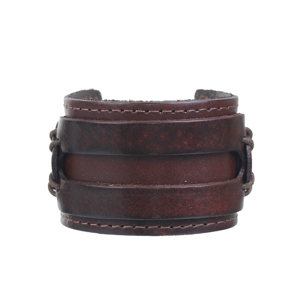 SEXY SPARKLES Mens Genuine Real Leather Bracelet Wide Casual Wristband Cuff Bangle Punk Gothic Adjustable