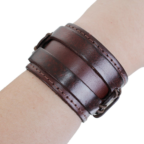 SEXY SPARKLES Mens Genuine Real Leather Bracelet Wide Casual Wristband Cuff Bangle Punk Gothic Adjustable - Sexy Sparkles Fashion Jewelry - 3