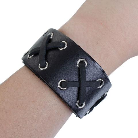 SEXY SPARKLES Mens Genuine Real Leather Wrist Bracelet Wide Casual Wristband Cuff Bangle Adjustable - Sexy Sparkles Fashion Jewelry - 3
