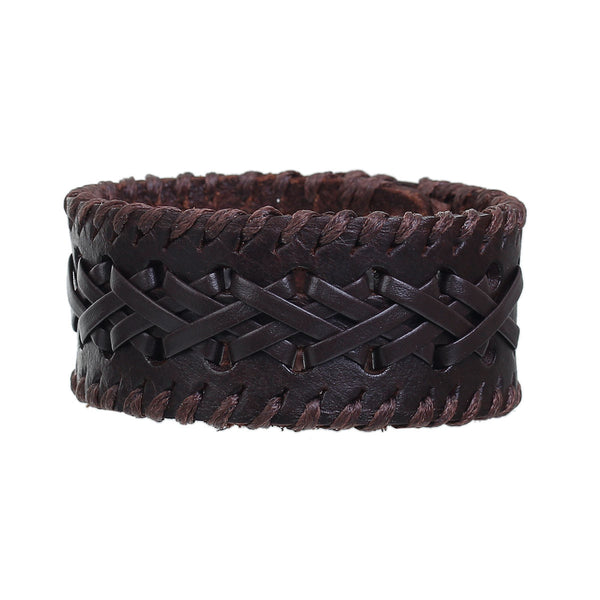 Sexy Sparkles Mens 8.5 inches Genuine Real Leather Wrist Bracelet Wide Casual Wristband Cuff Bangle Adjustable - Sexy Sparkles Fashion Jewelry - 1