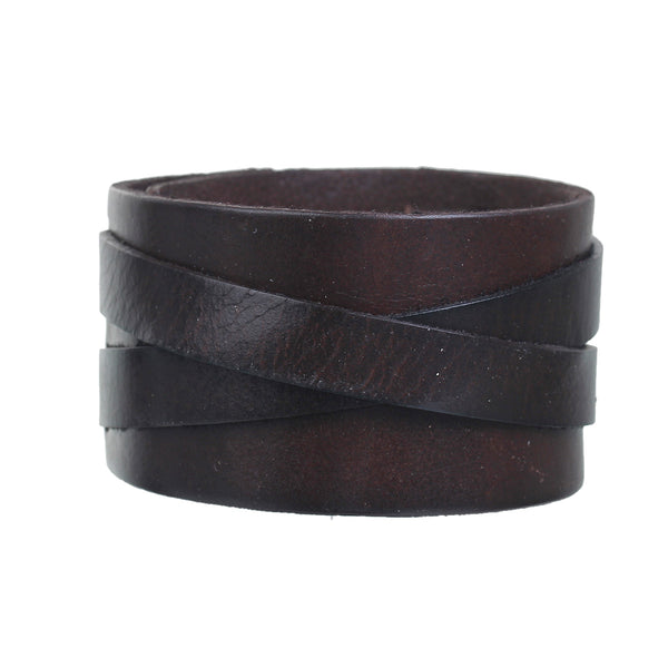 Sexy Sparkles Mens Genuine Real Leather Wrist Bracelet Wide Casual Wristband Cuff Bangle Adjustable - Sexy Sparkles Fashion Jewelry - 1
